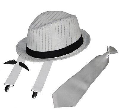 Gangster Set 20er Jahre Mafia Charleston Kostüm 4er Set Hut Hosenträger Krawatte