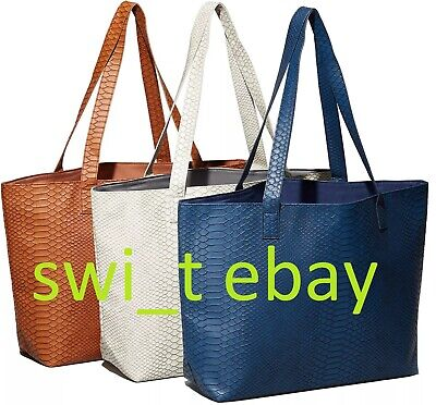 Bloomingdale's Faux Python Leather Tote Bag Shopper Handbag BLUE BROWN or -