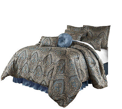 Elegant Gold Blue Medallion Paisley 9 pc Comforter Cal King Queen set or Curtain Gold King Comforter