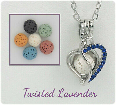Blue Gem Heart - Blue Swirled Heart Aromatherapy Essential Oil Diffuser Necklace & 6 lava stones!