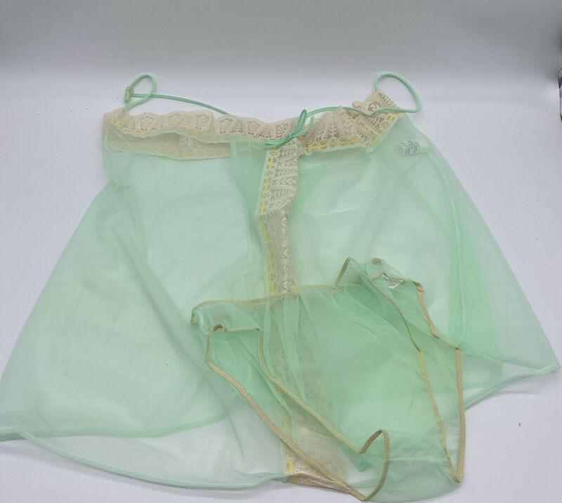 Vintage 1960's Stardust Mint Babydoll Negligee with Panties Mint Green