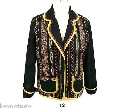 Womens Embroidered Ala Carte Jacket Womens Xl Gorgeous Black 100  Cotton