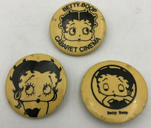 (3) Betty Boop Different Vintage Original Pin Button Pinback 3 Piece Set Lot