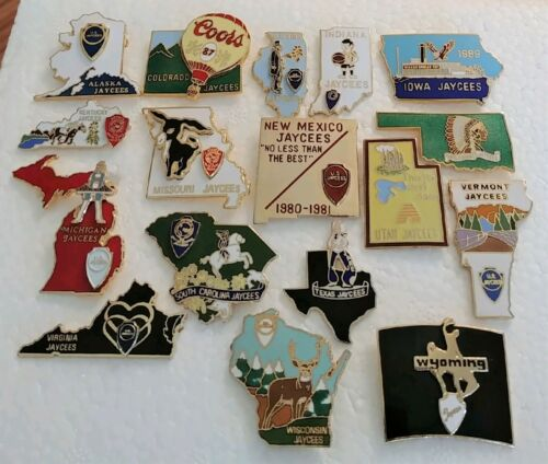 Vintage 1980s Jaycees Pin Lot~State Outlines~CO IN IO KY MI MO NM SC TX UT VA WI