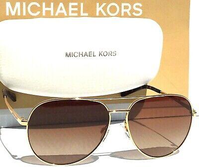 NEW MICHAEL KORS Womens Gold 58mm AVIATOR Brown Grad Sunglass MK5009 Rodinara