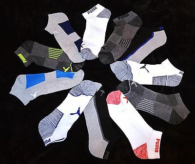 Puma 6 prs Coolcell black white gray blue LOW CUT socks men's L LARGE 10-13