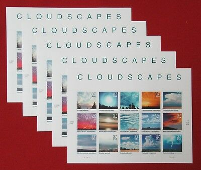 Mint 75 (5 Souvenir Sheets x 15) CLOUDSCAPES 37 ¢ Cent US Stamps. Scott 3878 a-o