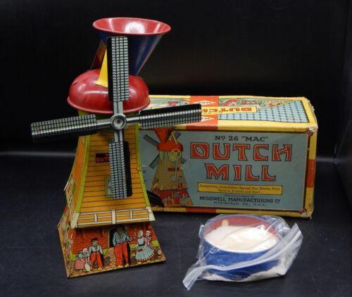 1920s vintage MAC toys DUTCH MILL tin toy sand mill w/ original box & sand NICE!