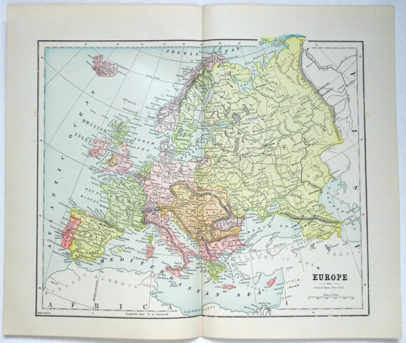 Original 1889 Map of Europe by Hunt & Eaton. Antique