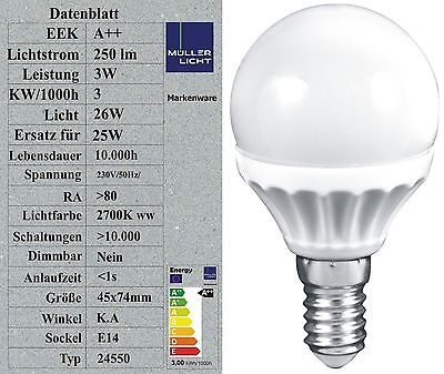 M LLER LICHT LED TROPFEN GLOBE 3W ERSETZT 25W 250LM 2700K WARMWEI 45X87MM 58002
