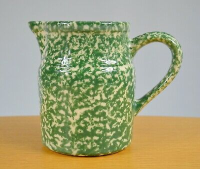 Roseville Spongeware WORKSHOP of GERALD HENN POTTERY Pitcher (Green) Made in USA