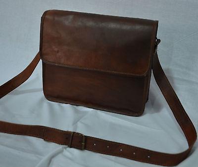 Mens Genuine Leather Cowhide Brown Crossbody Shoulder Satchel Messenger Bag 13