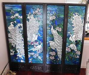 Glass screen, four hinged panels lead-light white peacocks Kurrajong Hawkesbury Area Preview