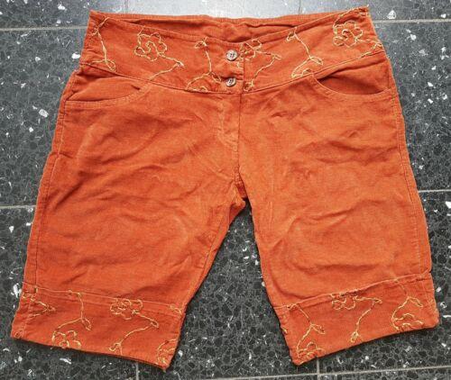 Neue Feincord Shorts Gr. XL (42) rost/orange kurze Hose Cord/Kord Stickerei Goa