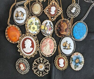 16 Vintage Cameo Quality Pin Brooch Pendant Necklace Jewelry Victorian Lady -