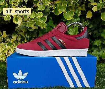 ❤ BNWB & Genuine Adidas Originals ® Gazelle Burgundy Suede Trainers UK Size 9