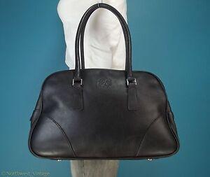 vintage roots black leather handbag bowling style bag tote