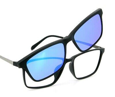 Magnetbrille schwarz mit silber grauen Metallbügeln inkl. Gleitsichtgläsern