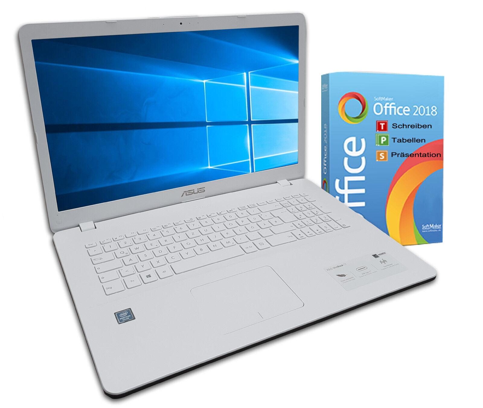 Asus F705m Notebook 17 Zoll Hd+ Quad Core 4 X 2,7ghz 4gb 500gb Win10 Weiß Office