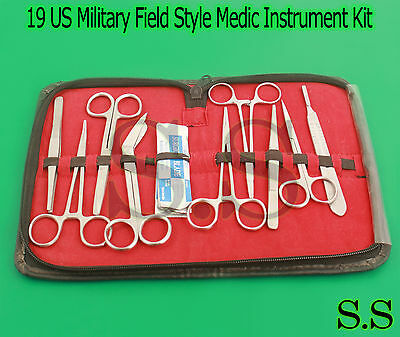 19 Us Military Field Style Medic Instrument Kit - Medical Surgical Nurse Dental
