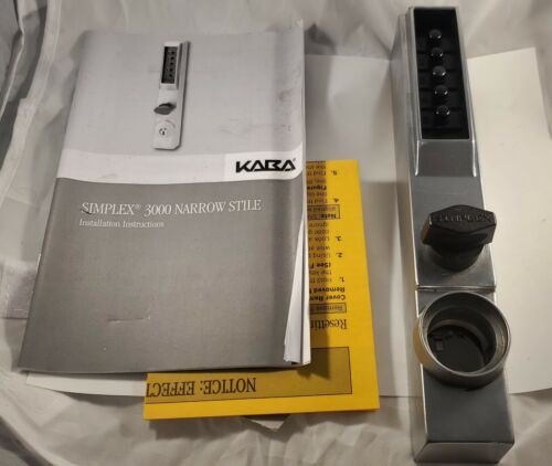 Kaba Simplex 3000 Narrow Stile Push Button Lock with cylinder override option
