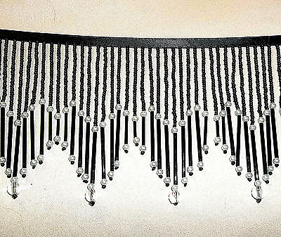 "Black 4"" dainty, glass  beaded fringe trim shades.  #401"