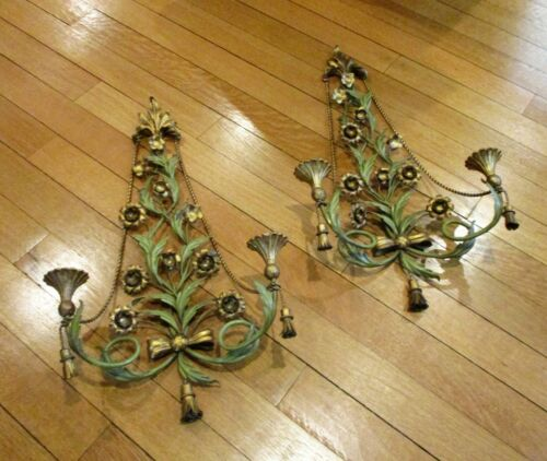 PR VTG Hollywood Regency PALLADIO Italian Gilt Metal Tole Sconces Candle Holders