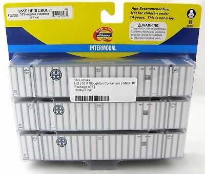 Ho Scale 53 Stoughton Containers  3 Pack    Bnsf Hub Group  1   Athearn  72533