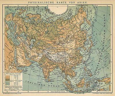 Alte historische Landkarte 1898: Physikalische Karte von Asien. (B14)