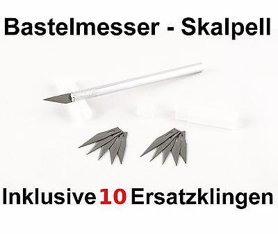 Skalpell +10 Ersatzklingen! Bastelmesser Cutter Modellbau Präzision schneiden