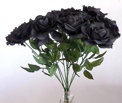 10 x Rosen schwarz Kunstblumen -Seidenblumen ()