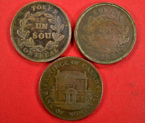 Lot of 3 Bank of Montreal Bank Tokens 1844 Half Penny 1838 Un Sou Coins