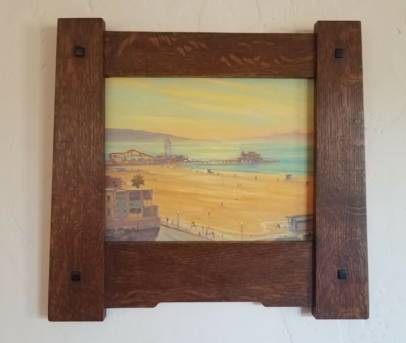 Original Landscape Oil Plein Air Painting of Santa Monica, Arts and Crafts Frame