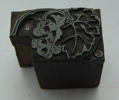 Vintage Printing Letterpress Printers Block Big Leaf Berries