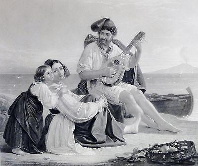Neapolitanische Fischerfamilie Kupferstich v Gustav Lüderitz nach August Riedel