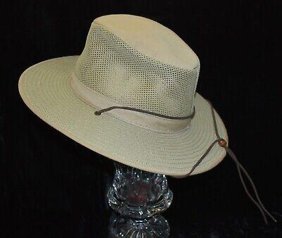 Henschel Mens Large Packable Aussie Breezer Mesh Khaki Safari Hat Leather Chin
