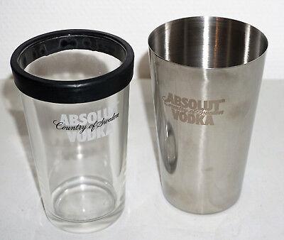 Absolut Vodka Wodka Bar Shaker mit Glas Edelstahl Barzubehör Cocktail NEU OVP (Absolut Shaker)