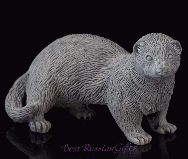 "Ferret Marble Stone Figurine Sculpture Russian Art Pet Animal Statuette 5"""
