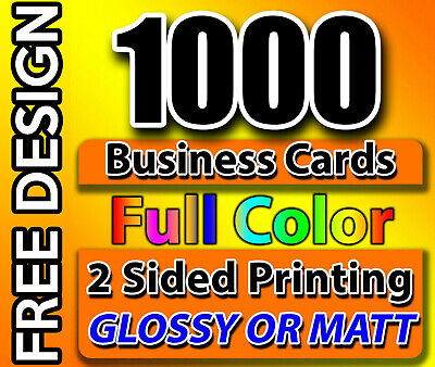 Business Cards / Free Design & Shipping / Qty: 1000 / Full Color / 2 Side Print