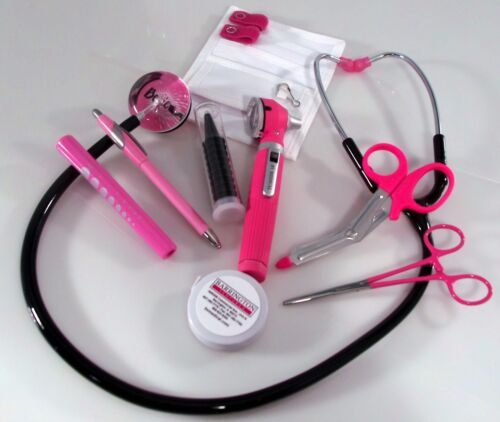 Breast Cancer Awareness Nurse Kit with Black Stethoscope & Pink Mini Otoscope