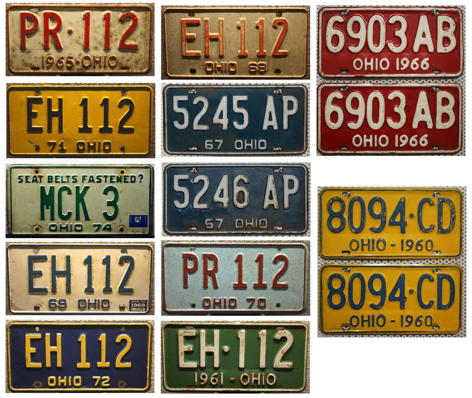 OHIO Nummernschild Altes amerikanisches Oldtimer-Kennzeichen Metallschild ROSTIG