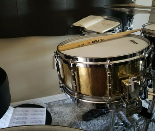 VINTAGE PEARL BRASS FREE FLOATING SNARE DRUM EARLY 80s (JAPAN)