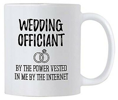 Funny Wedding Officiant Gift. 11 oz Ceramic Coffee Mug. By the Power Vested In M](Wedding Mugs)