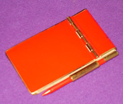 ART DECO 1920s ORIGINAL RED ENAMEL POCKET PURSE NOTEBOOK WRITING PAD AND PENCIL