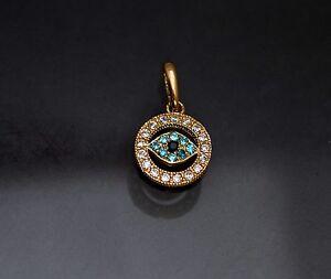 2376f6db7bea 14K Solid Yellow Gold Evil Eye Created Diamond Charm Pendant Necklace  0.50TCW