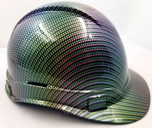 Hard Hat custom hydro dipped , OSHA approved NEO CHROME CARBON FIBER NEW SICK 1