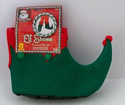 Erwachsene Elfen Hofnarr Grinch Rot & Grün Filz Weihnachten Schuhe Kostüm (Filz Elfen Schuhe)