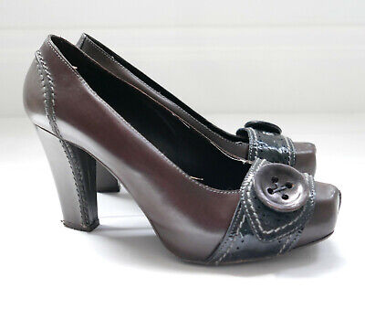 Henry Beguelin Signature Button Trim Chunky Heels Pumps w/Dustbag IT38/UK5