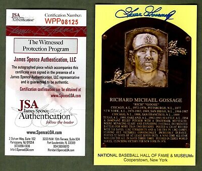Goose Gossage Signed Autograph Yellow HOF Plaque Card JSA Witnessed Certified