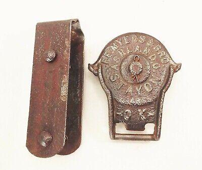 Vtg antique myers cast iron barn door gate hinge hanging track roller rustic